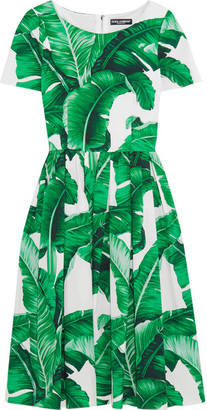 Dolce & Gabbana - Printed Cotton-poplin Dress - Green $1,695 thestylecure.com