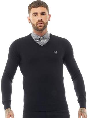 Fred Perry Mens Classic Tipped V-Neck Sweater Black