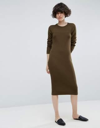 Asos Design Chunky Knit Midi Dress With Rib Panel