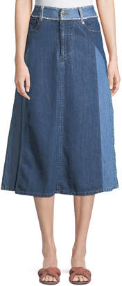 Sea Two-Tone Denim A-Line Midi Skirt