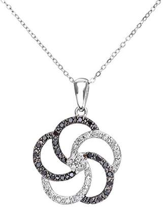 Black Diamond Naava Women's 9 ct White Gold 0.30 Flower Pendant and Chain Necklace of 46 cm