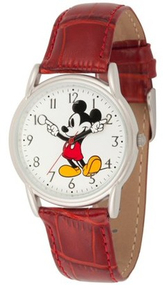Disney Mickey Mouse Men's Silver Cardiff Alloy Watch, Red Leather Strap
