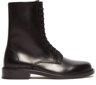 Saint Laurent Timothy Lace Up Leather Boots - Mens - Black