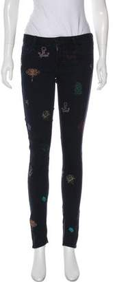 Mother Embroidered Mid-Rise Skinny Jeans