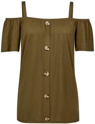Dorothy Perkins Womens Khaki Soft Cold Shoulder Top