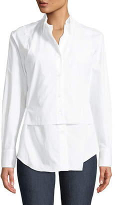 Marni Long-Sleeve Button-Front Cotton Poplin Blouse