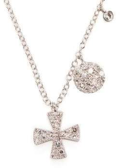 Meira T Cross Diamond and 14K White Gold Pendant Necklace
