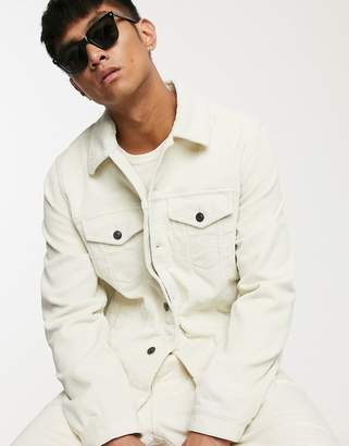 Asos Design DESIGN cord western jacket in ecru