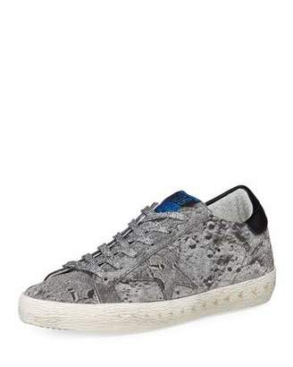 Golden Goose Superstar Glittered Platform Sneakers, Silver