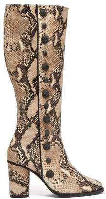 Rue St. - Lana Snake Effect Leather Knee High Boots - Womens - Cream Multi