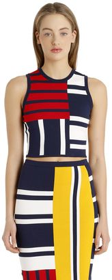 Patchwork Viscose Knit Top Gigi Hadid $100 thestylecure.com