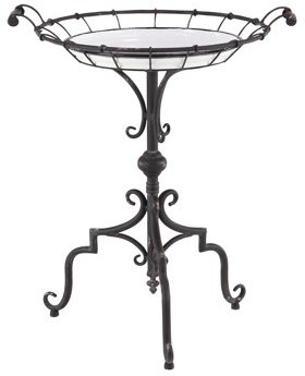 Decmode Traditional 29 X 24 Inch Round Metal and Wood Tray-Style Accent Table
