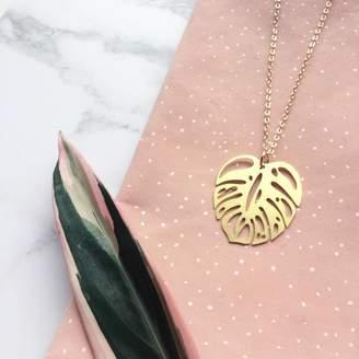 Mica Peet Gold Monstera Leaf Necklace