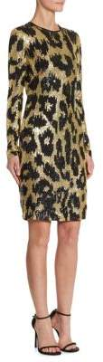 Naeem Khan Sequin Leopard-Print Dress