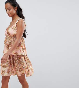 Vero Moda Petite Floral Tiered Mini Dress With Pom Poms