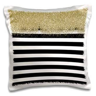 3dRose Black and White Stripes Gold Faux Glitter - Pillow Case, 16 by 16-inch