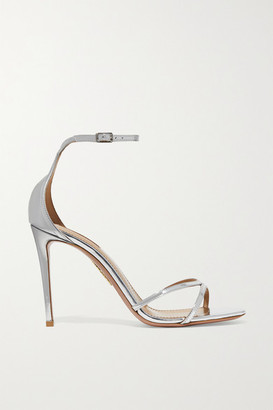 Aquazzura Purist 105 Mirrored-leather Sandals - Silver