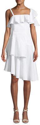 KENDALL + KYLIE One-Shoulder Poplin Flutter Dress