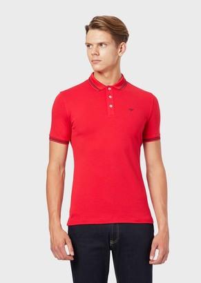 Emporio Armani Cotton Pique Polo Shirt With Contrast Logo Detail On The Chest