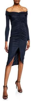 Milly Megan Off-the-Shoulder Long-Sleeve Shirred High-Low Dress