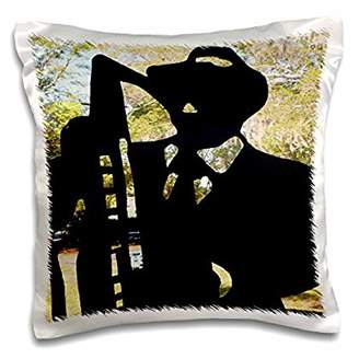 N. 3dRose Black Silhouette Of Man Horn I Call All About Jazz, Pillow Case, 16 by 16-inch