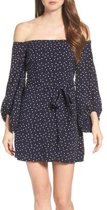 Women's Bardot Polka Dot Off The Shoulder Dress $99 thestylecure.com