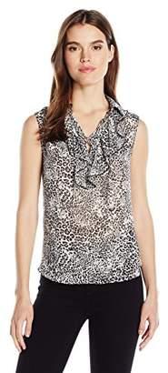 Jones New York Women's Wavy Cheetah Print Lace up Slvlss Ruffle