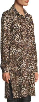 Neiman Marcus Leopard Print Button-Front Tunic