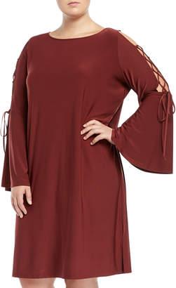 Love Scarlett Plus Lace-Up Bell-Sleeve Shift Dress, Plus Size