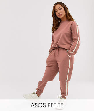 Asos DESIGN Petite tracksuit cute sweat / basic jogger with tie with contrast binding