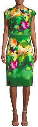 Akris Graphic Print Silk Dress
