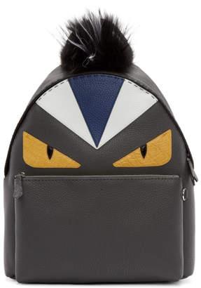 Fendi Black Fur-Trimmed Bag Bugs Backpack