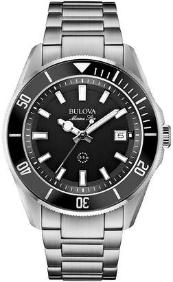 Bulova Mens Black Dial Stainless Steel Bracelet Watch 98B203