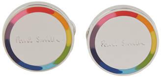 Paul Smith Silver and Multicolor Logo Cufflinks