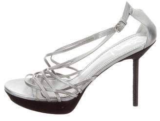 Saint Laurent Metallic Platform Sandals