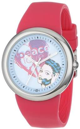 Zotos PeaceLove Unisex F36S-PLPCBL-HP Art Dial Stainless Steel Watch with Hot Silicone Strap