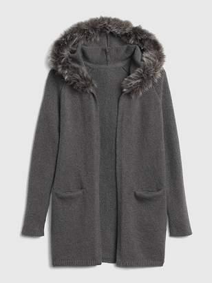 Gap Faux-Fur Trim Cardigan Sweater