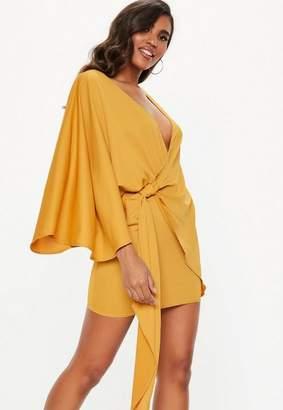 Missguided Yellow One Shoulder Drape Mini Dress