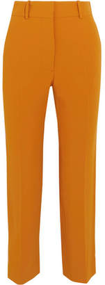 Cropped Crepe Straight-leg Pants - Mustard