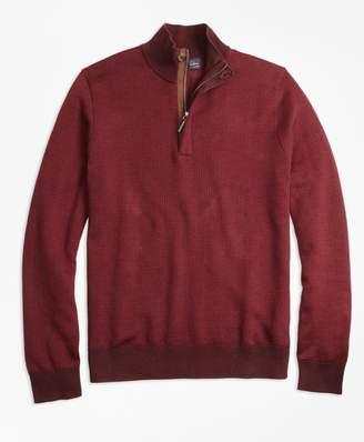 Brooks Brothers Supima Cotton Cashmere Houndstooth Half-Zip Sweater