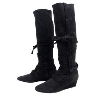 Hermes Black Velvet Boots