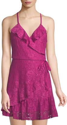 Love, Fire Lace Ruffled Wrap Mini Dress