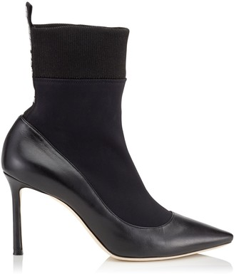 Jimmy Choo BRANDON 85 Black Nappa Leather and Stretch Fabric Sock Ankle Boots