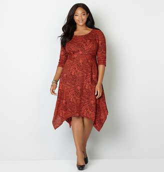 Avenue Paisley Rib Knit Handkerchief Hem Dress