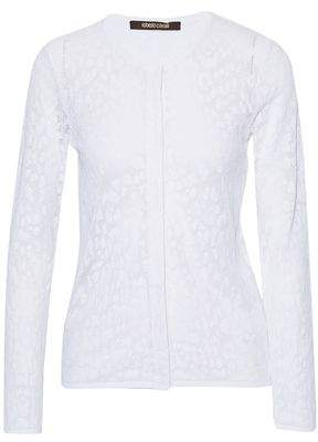 Roberto Cavalli Open Knit Cotton-Blend Cardigan