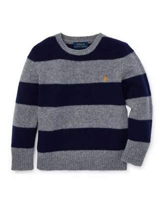Ralph Lauren Wool-Cashmere Striped Sweater, Size 5-7