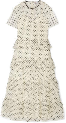 RED Valentino Polka-dot Tiered Flocked Tulle Maxi Dress - Ivory