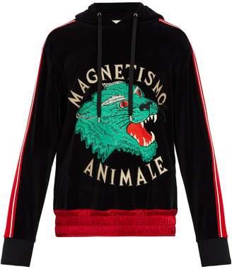 Gucci Tiger-appliqué velvet hooded sweatshirt