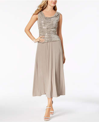 R & M Richards Metallic Sequined A-Line Dress, Regular & Petite Sizes