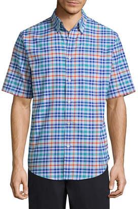ST. JOHN'S BAY Sjb Ss Slim Stretch Ez Care Oxford Shirt